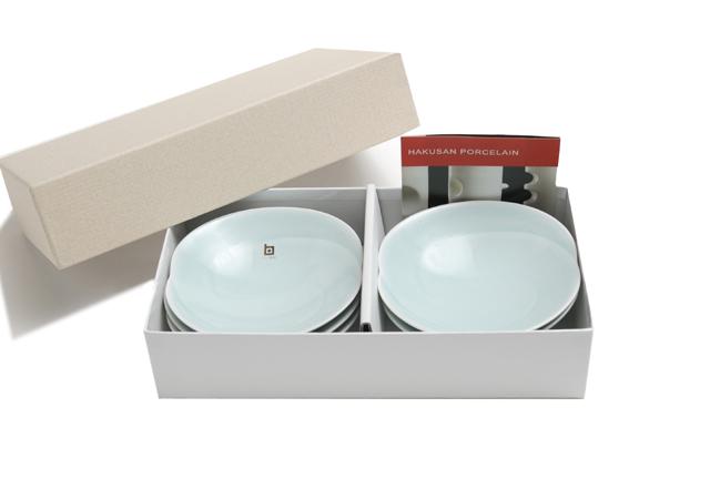 白山陶器 ともえ 浅鉢(小)ギフトセット青白釉+青白釉