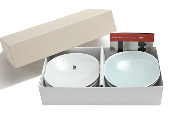 白山陶器 ともえ 浅鉢(小)ギフトセット 白磁+青白釉