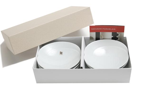 白山陶器 ともえ 浅鉢(小)ギフトセット 白磁+白磁